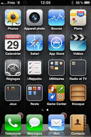 Iphone - page d'accueil