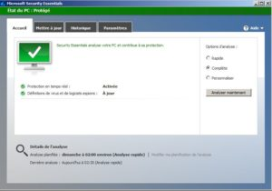 Microsoft anti-virus essentiel boite de dialogue