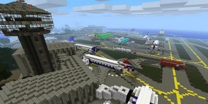 Minecraft airport aeroport with planes