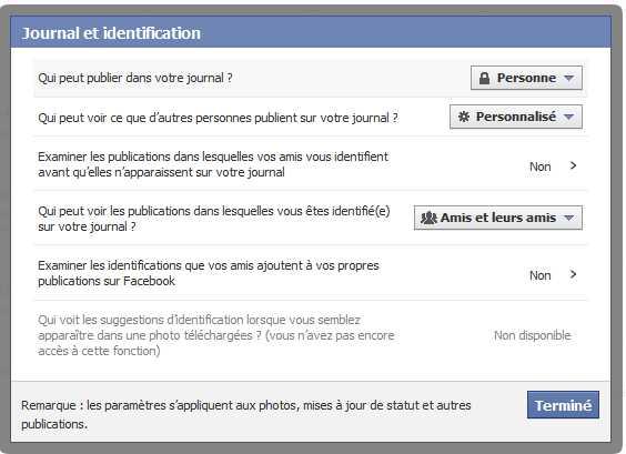 facebook - Paramètres de confidentialité - journal et identifications