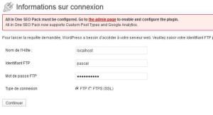 Informations connexion wordpress