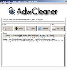 Adwcleaner - liste des fichiers infectés